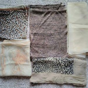 Lot of 5 Vintage Scarves